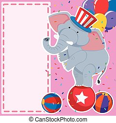 Border template with elephant on the ball