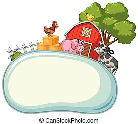 Border template with farm animals in background