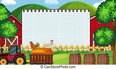 Border template with farm scene in background illustration