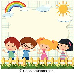 Border template with four kids in garden