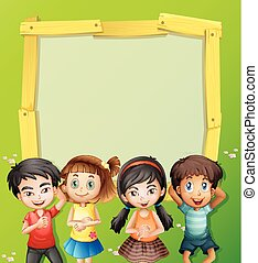 Border template with four kids on the grass