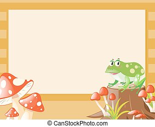 Border template with frog and mushroom