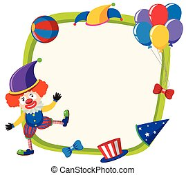 Border template with funny clown and balloons