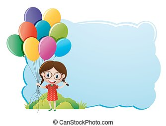 Border template with girl and balloons