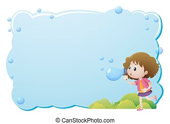 Border template with girl blowing bubbles illustration