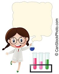Border template with girl in science lab