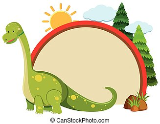 Border template with green dinosaur