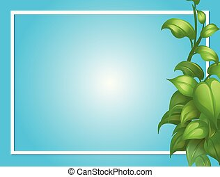 Border template with green leaves on side
