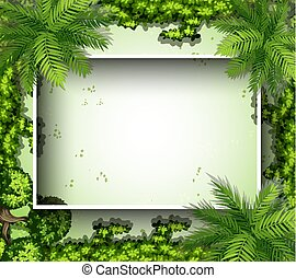 Border template with green plants