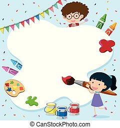 Border template with kid and painting tools