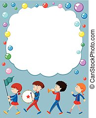 Border template with kids in school band