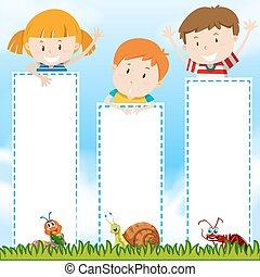 Border template with kids in the park