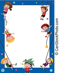 Border template with kids on the rope