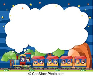 Border template with kids on the train