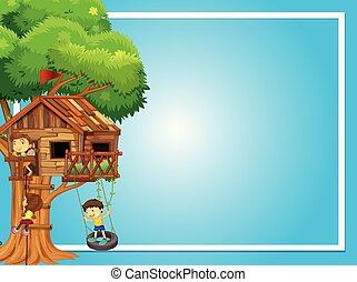 Border template with kids on treehouse