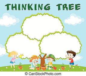 Border template with kids planting trees
