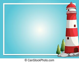 Border template with lighthouse