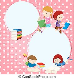 Border template with many children reading books