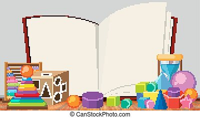 Border template with many toys background