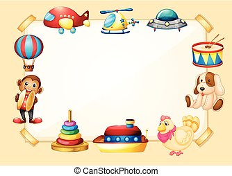 Border template with many toys