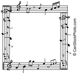 Border template with musicnotes on white background