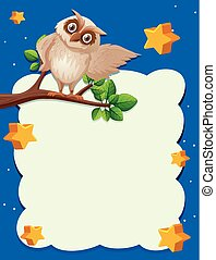 Border template with owl on branch in background