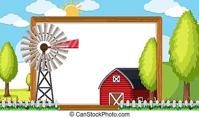 Border template with red barn and windmill