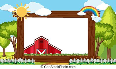 Border template with red barn on the farm