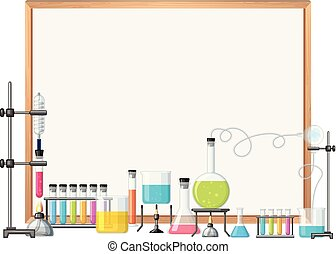 border template with girl in science lab illustration