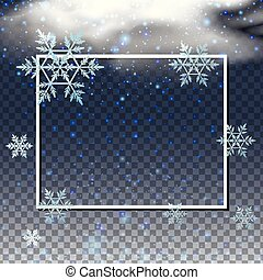 Border template with snowflakes in the sky