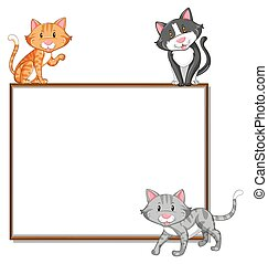 Border template with three cats