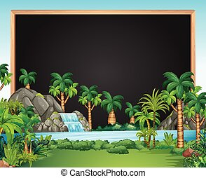 Border template with waterfall scene
