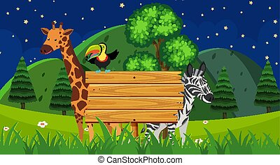 Border template with wild animals in the park background illustration