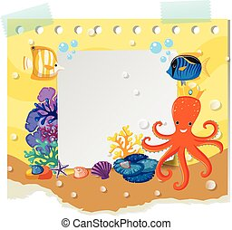 Border template with wild animals under the sea