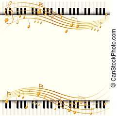 Border template with with piano keyboards and musicnotes illustration