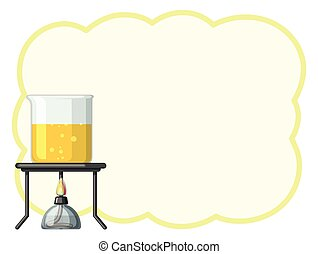 Border template with yellow liquid in beaker