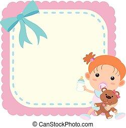 Border template wtih baby girl and teddybear illustration