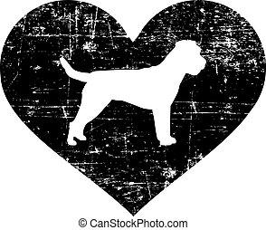 Border Terrier in heart black and white