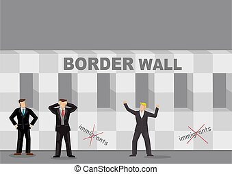 Border Wall and Business Cartoon Vector Illustration - ...