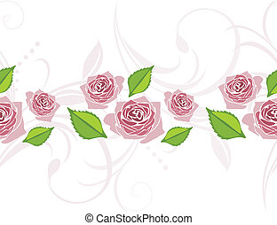 Border with blooming stylized roses