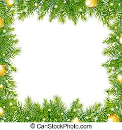 Border With Christmas Tree And Gold Ball