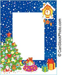 Border with Christmas tree - Vertical vector border with a...