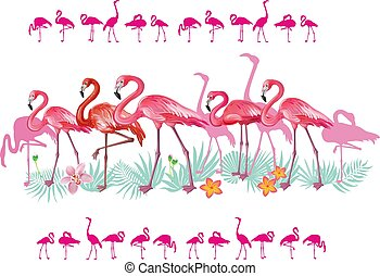 Border with Flamingoes and tropical leaves