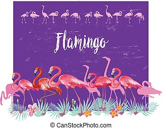 Border with Flamingoes and tropical plants