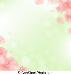 Border With Flowers And Green Background
