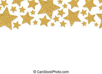 Border with gold stars of sequin confetti
