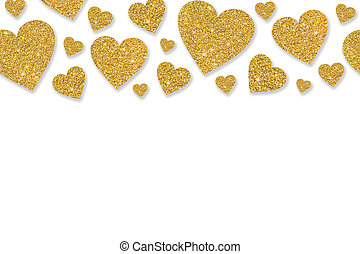 Border with golden hearts of sequin confetti. Glitter powder...