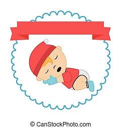 border with label and sleep baby boy