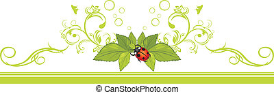 Border with ladybird and leaves