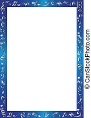 border with music signs - colored border with music notes, ...